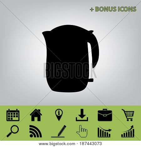 Electric kettle sign. Vector. Black icon at gray background with bonus icons at celery ones