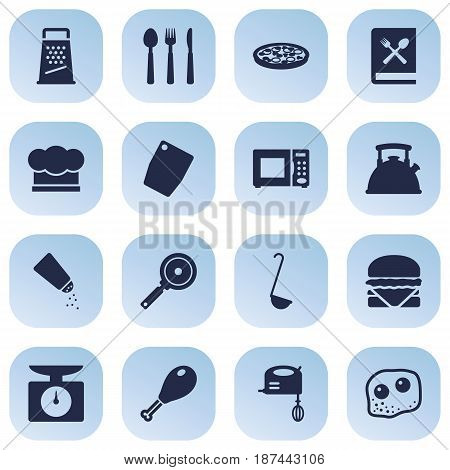 Set Of 16 Cooking Icons Set.Collection Of Electronic Oven, Kitchen Rasp, Poultry Foot And Other Elements.