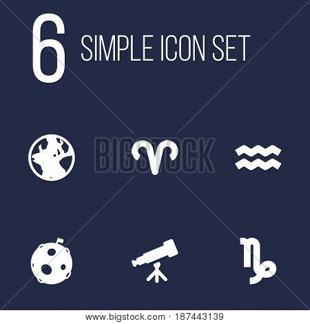 Set Of 6 Astrology Icons Set.Collection Of Binoculars, Lunar, Goat And Other Elements.