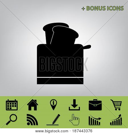 Toaster simple sign. Vector. Black icon at gray background with bonus icons at celery ones