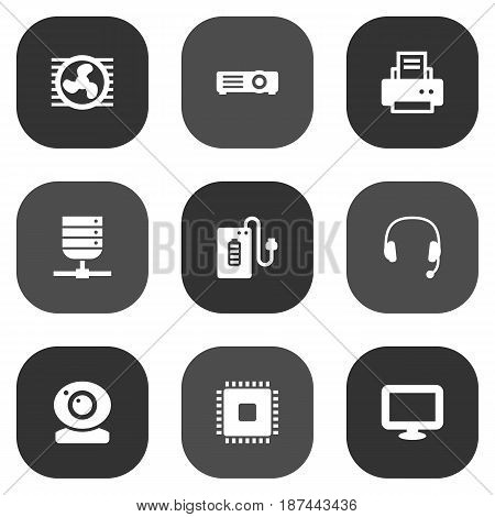 Set Of 9 Notebook Icons Set.Collection Of Show, Microprocessor, Fan And Other Elements.