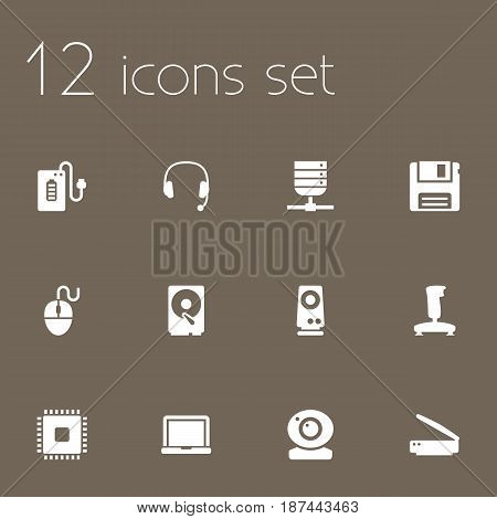 Set Of 12 Laptop Icons Set.Collection Of Control Device, Photocopy, Laptop And Other Elements.