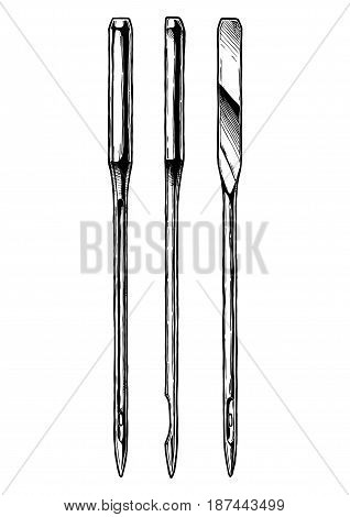 Vector hand drawn illustration of sewing machine needle in vintage engraved style. isolated on white background. Black-and-white.