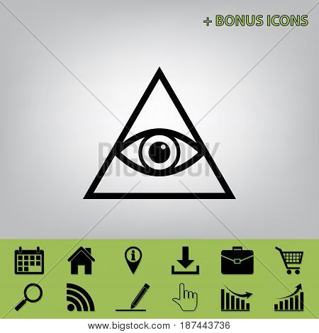 All seeing eye pyramid symbol. Freemason and spiritual. Vector. Black icon at gray background with bonus icons at celery ones