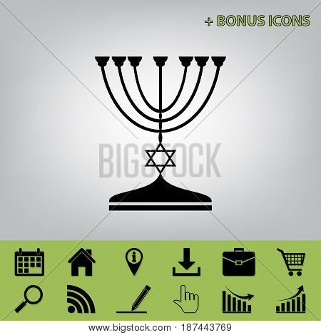 Jewish Menorah candlestick in black silhouette. Vector. Black icon at gray background with bonus icons at celery ones