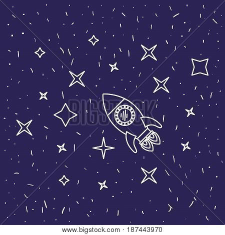 dark blue background with hand drawn flying rocket in starry sky vector illustration