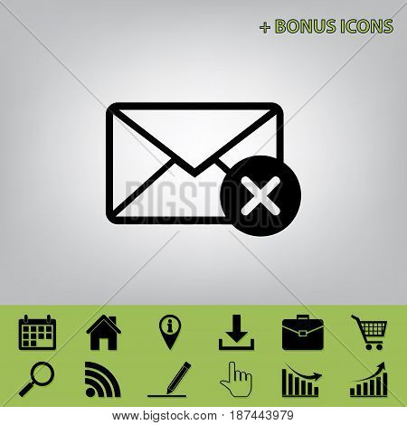 Mail sign illustration with cancel mark. Vector. Black icon at gray background with bonus icons at celery ones