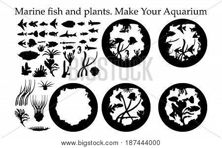 Silhouette of sea fish and plants and aquarium. Aquarium designer for books, tattoo, logo,