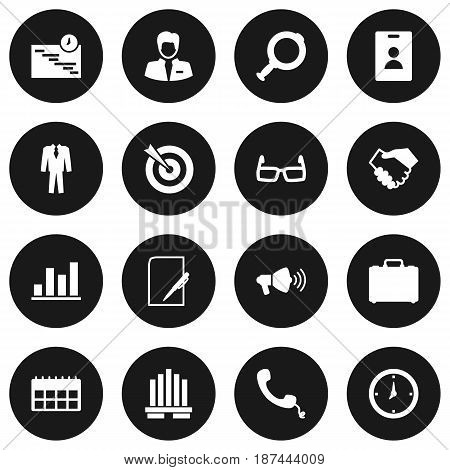 Set Of 16 Business Icons Set.Collection Of Goal, Spectacles, Id Card And Other Elements.