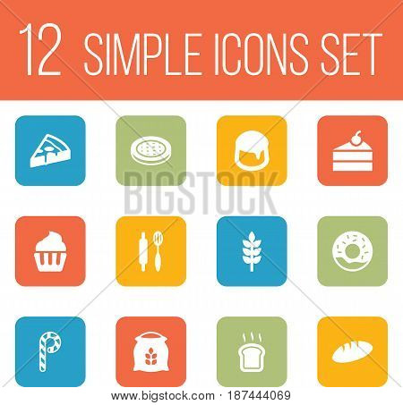 Set Of 12 Cook Icons Set.Collection Of Muffin, Sack, Doughnut And Other Elements.