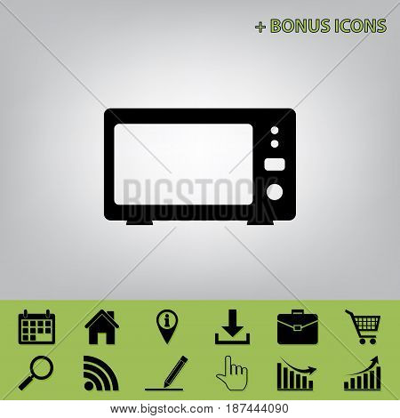 Microwave sign illustration. Vector. Black icon at gray background with bonus icons at celery ones