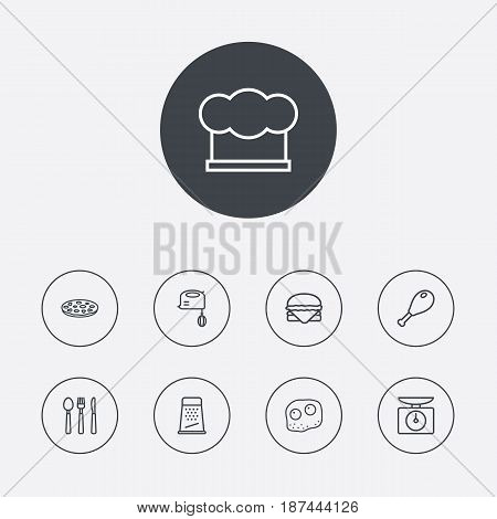 Set Of 9 Culinary Outline Icons Set.Collection Of Cutlery, Scales, Hamburger And Other Elements.