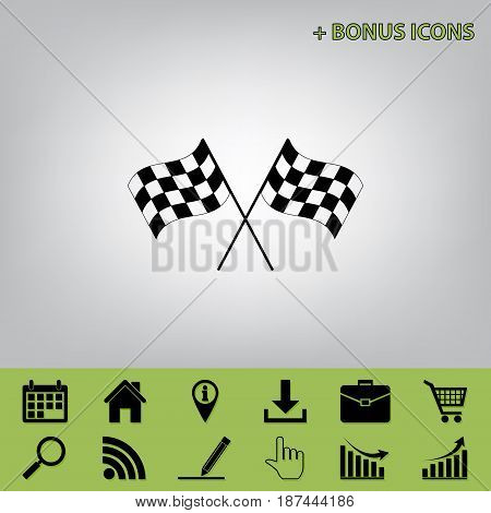Crossed checkered flags logo waving in the wind conceptual of motor sport. Vector. Black icon at gray background with bonus icons at celery ones