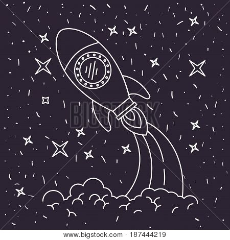 black background with hand drawn space rocket launching in starry sky vector illustration