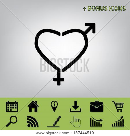 Gender signs in heart shape. Vector. Black icon at gray background with bonus icons at celery ones