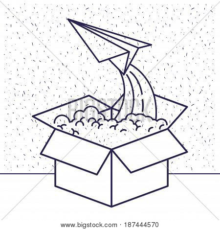white background with blue silhouette of cardboard box and paper plane flying vector illustration