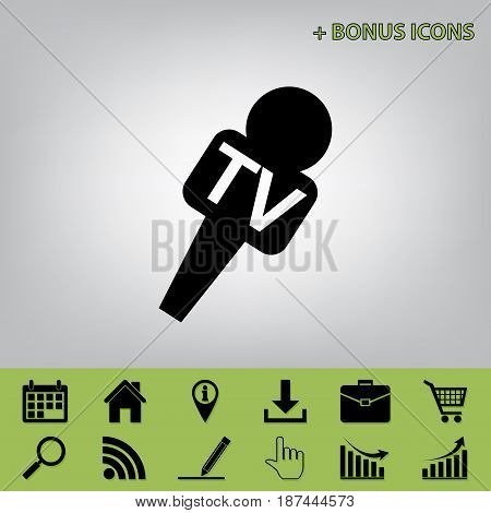 TV microphone sign illustration. Vector. Black icon at gray background with bonus icons at celery ones