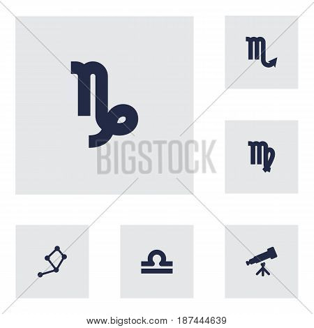 Set Of 6 Astronomy Icons Set.Collection Of Horoscope, Virgin, Binoculars And Other Elements.