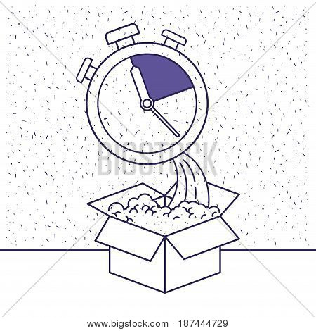 white background with blue silhouette with cardboard box and stopwatch vector illustration