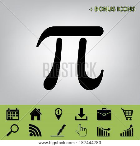 Pi greek letter sign. Vector. Black icon at gray background with bonus icons at celery ones