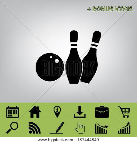 Bowling sign illustration. Vector. Black icon at gray background with bonus icons at celery ones