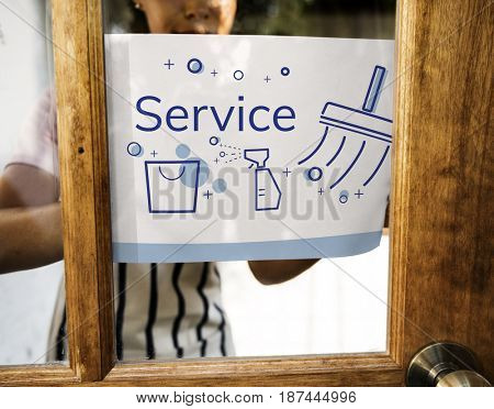 Illustration of home cleaning service on banner