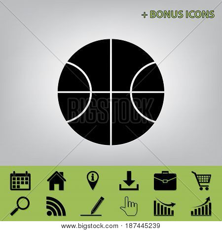 Basketball ball sign illustration. Vector. Black icon at gray background with bonus icons at celery ones