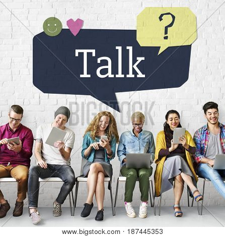 Group of people using digital devices with customer support speech bubble
