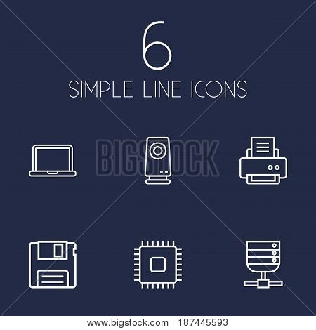 Set Of 6 Laptop Outline Icons Set.Collection Of Notebook, Speaker, Cpu And Other Elements.
