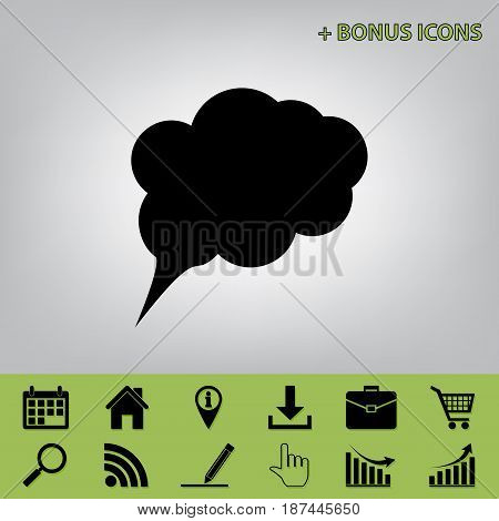 Speach bubble sign illustration. Vector. Black icon at gray background with bonus icons at celery ones