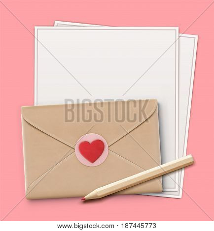 Vector illustration of love letter concept with sharpened detailed wooden pencil letter paper closed envelope and little red heart on it