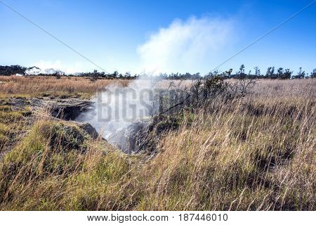 Natural steam rising from a volcanic steam vent in the earth at Volcano National Park, Kilauea Hawaii.