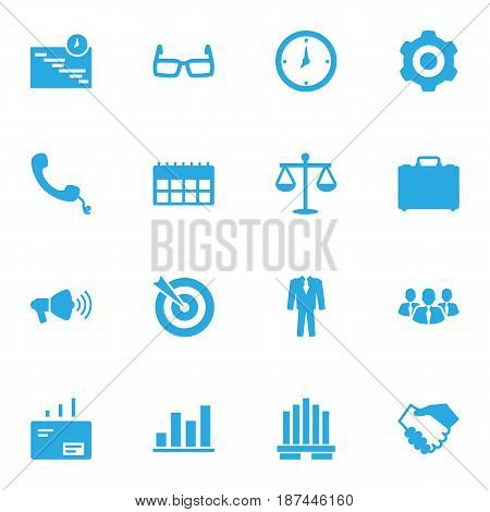 Set Of 16 Business Icons Set.Collection Of Graph, Speaker, Goal And Other Elements.