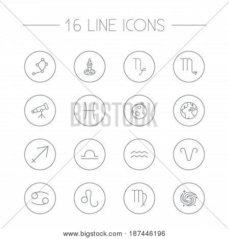 Set Of 16 Astrology Outline Icons Set.Collection Of Moon, Leo, Galaxy And Other Elements.