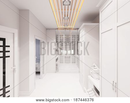 3d illustration hall interior design in classic style. Render the hallway is made without textures and materials in gray tones.