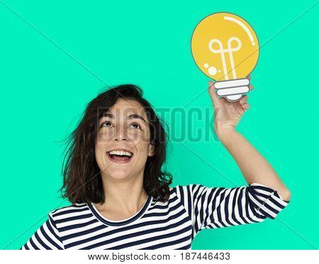 Woman Hold Light Bulb Think Ideas Create