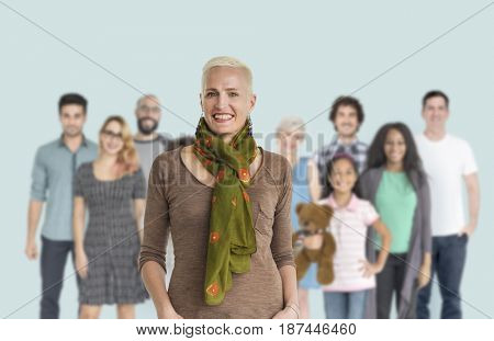 Group of Diversity People Together Set Studio Isolated