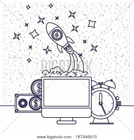 white background with blue silhouette of computer and clock and space rocket and money vector illustration