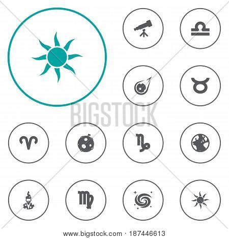 Set Of 12 Astronomy Icons Set.Collection Of Earth Planet, Lunar, Scales And Other Elements.