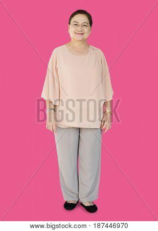 Senior Adult Women Smiling Happily Studio Portrait