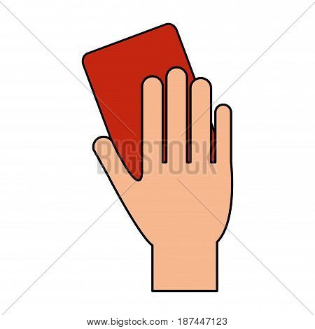 color image cartoon hand with red card vector illustration