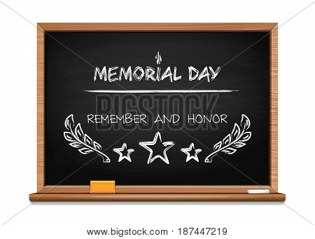 Memorial Day design. National american holiday. Remember and Honor. Festive card or banner with hand lettering. Handwritten chalk on a blackboard. Vector illustration