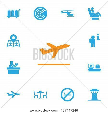 Set Of 13 Aircraft Icons Set.Collection Of Forbidden, Aircraft, Vip And Other Elements.