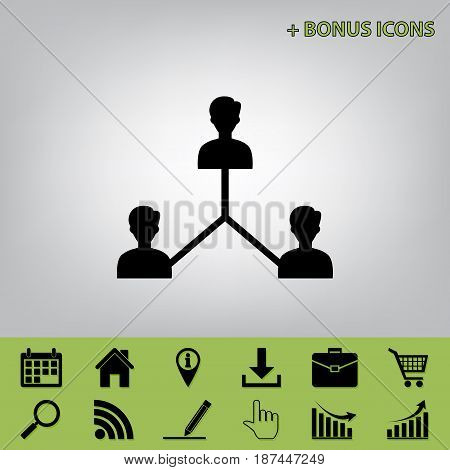 Social media marketing sign. Vector. Black icon at gray background with bonus icons at celery ones