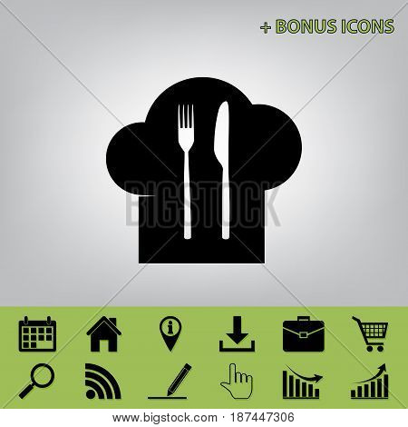 Chef hat and spoon, fork, knife sign. Vector. Black icon at gray background with bonus icons at celery ones