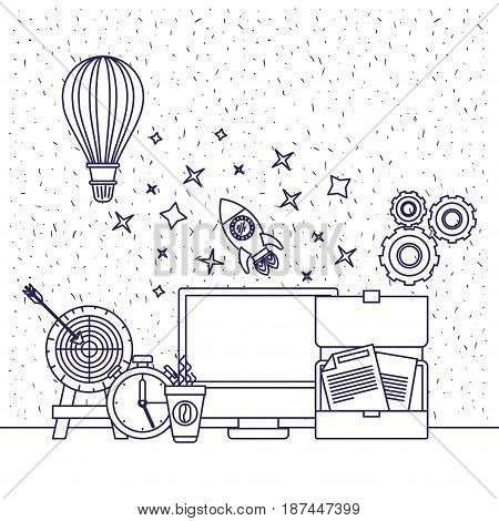 white background with blue silhouette of computer clock space rocket hot air balloon target documents coffee cup pinions vector illustration
