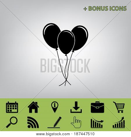 Balloons set sign. Vector. Black icon at gray background with bonus icons at celery ones