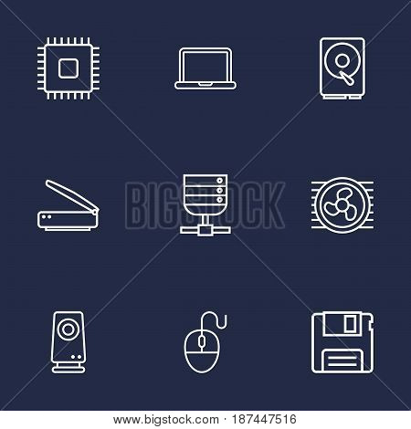 Set Of 9 Notebook Outline Icons Set.Collection Of Floppy, Scanner, Server And Other Elements.