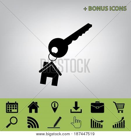 key with keychain as an house sign. Vector. Black icon at gray background with bonus icons at celery ones