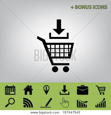 Add to Shopping cart sign. Vector. Black icon at gray background with bonus icons at celery ones